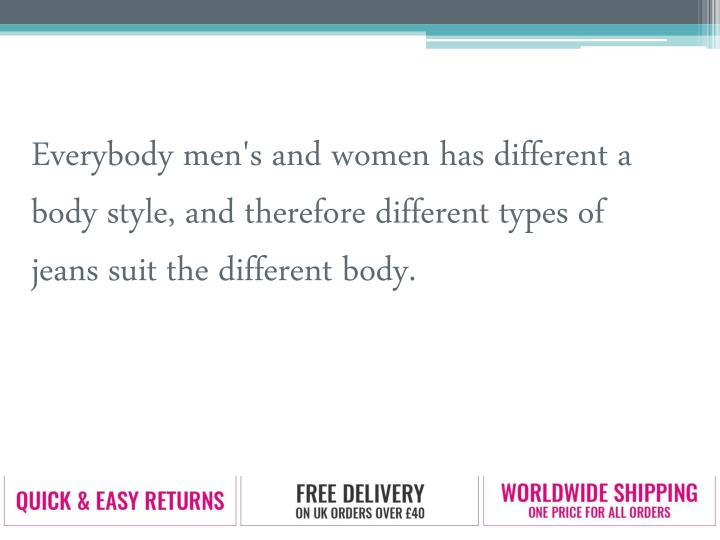 Everybody men's and women has different a body style, and therefore different types of jeans suit th...