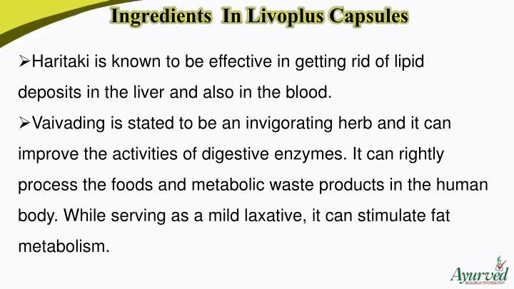 Ingredients  In LivoplusCapsules