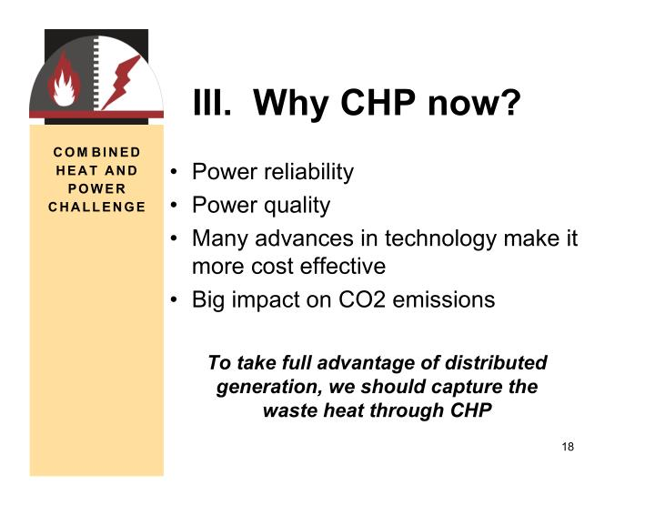 III.  Why CHP now?