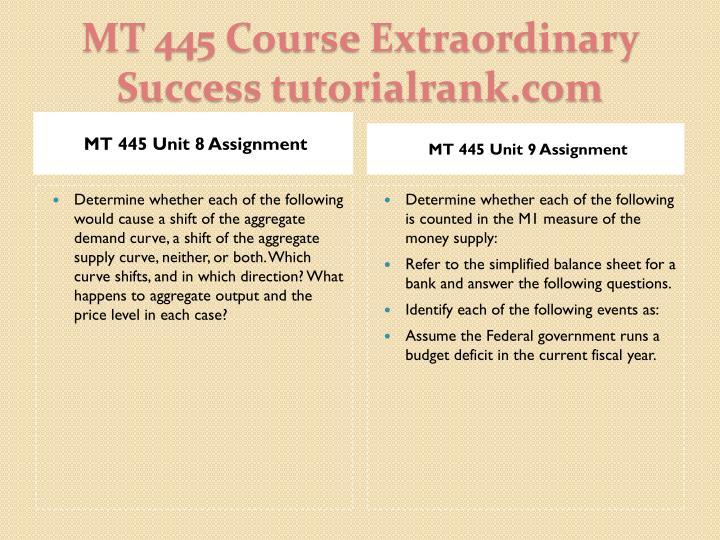 MT 445 Unit 8 Assignment