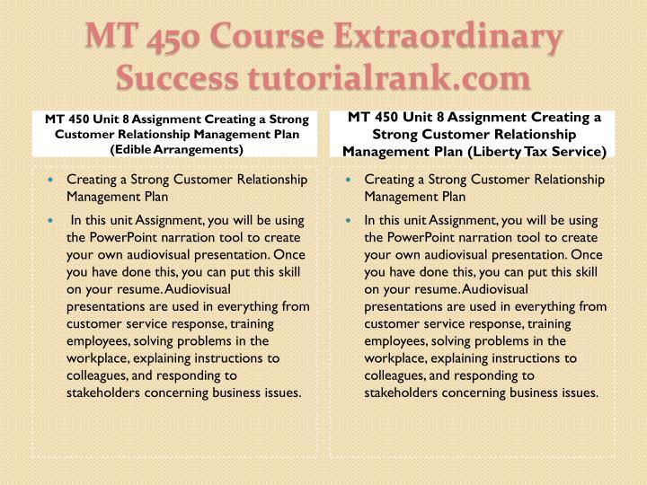 MT 450 Unit 8 Assignment Creating a Strong Customer Relationship Management Plan (Edible Arrangements)