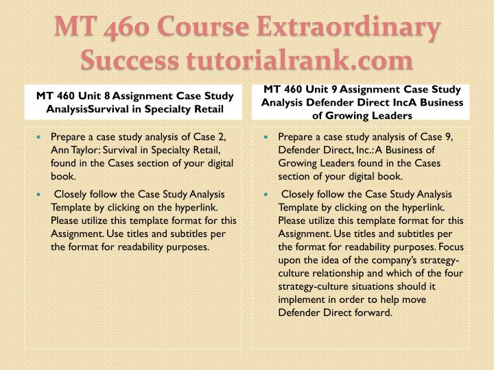 MT 460 Unit 8 Assignment Case Study AnalysisSurvival in Specialty Retail