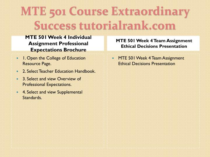 MTE 501 Week 4 Individual Assignment Professional Expectations Brochure