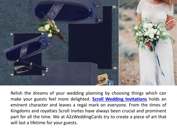 Relish the dreams of your wedding planning by choosing things which can make your guests feel more d...