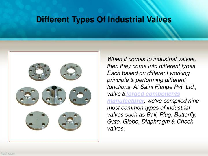 Different types of industrial valves