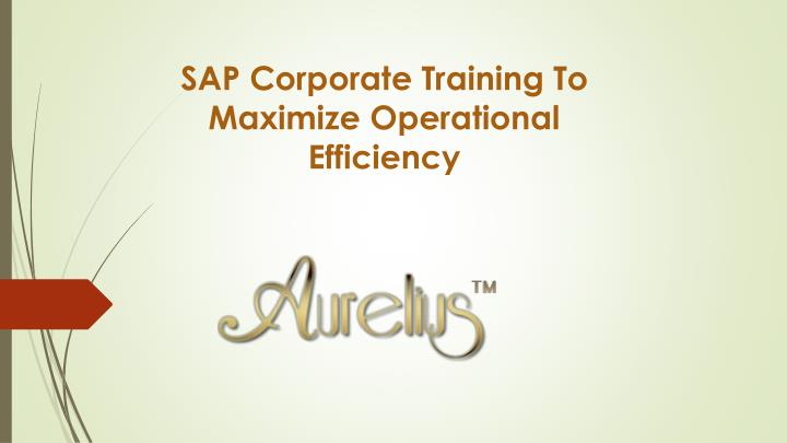 sap corporate training to maximize operational efficiency n.