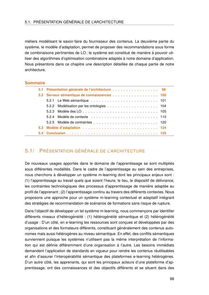 5.1. PR´ESENTATION G´EN´ERALE DE L'ARCHITECTURE