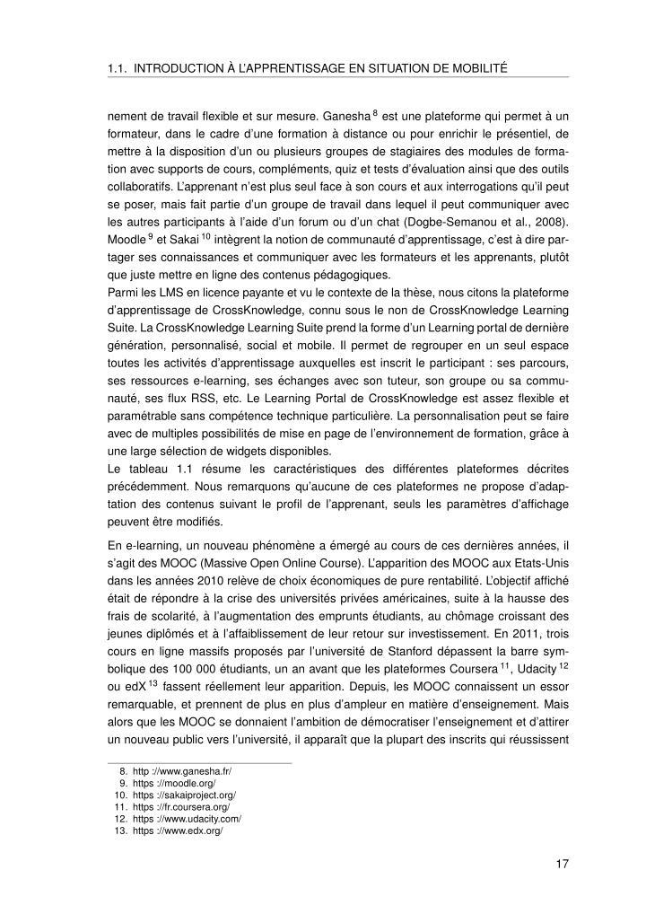 1.1. INTRODUCTION`A L'APPRENTISSAGE EN SITUATION DE MOBILIT´E