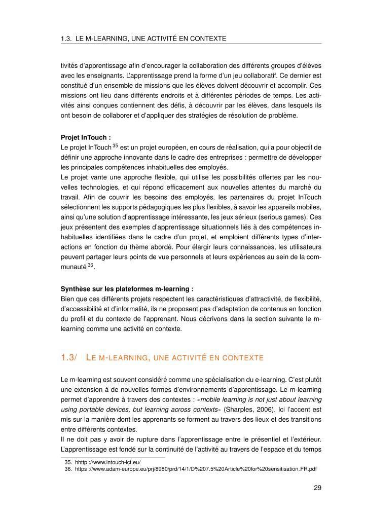 1.3. LE M-LEARNING, UNE ACTIVIT´E EN CONTEXTE