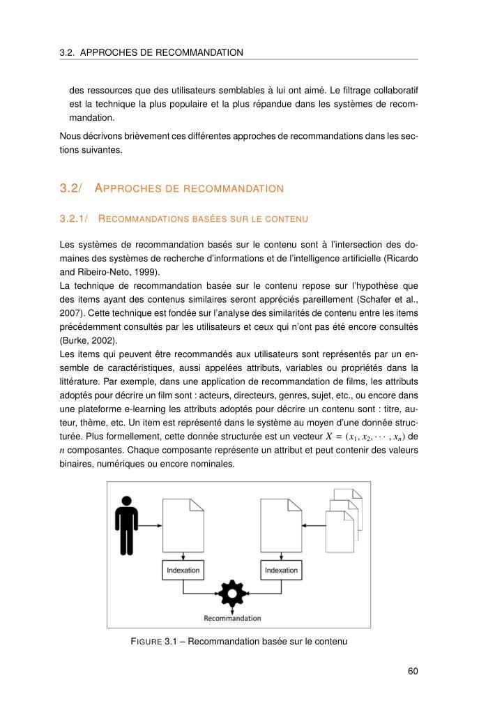 3.2. APPROCHES DE RECOMMANDATION