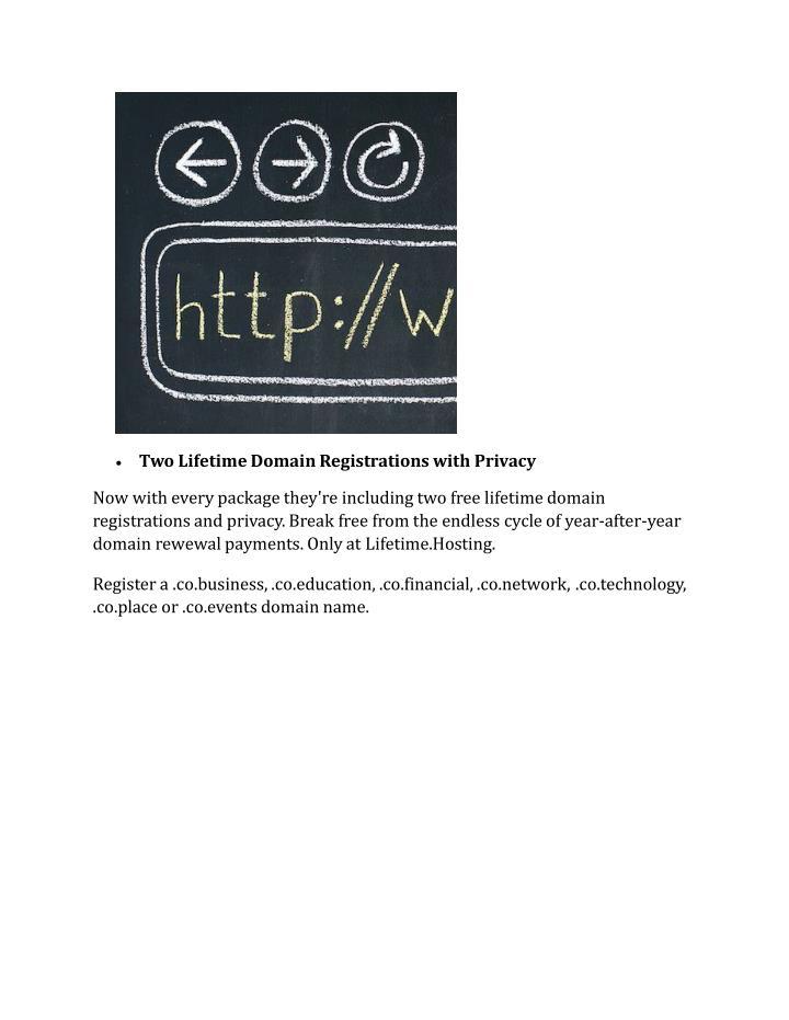 Two Lifetime Domain Registrations