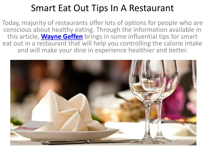 Smart eat out tips in a restaurant1