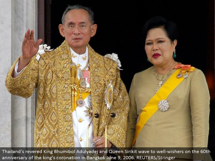 Thailand's worshipped King Bhumibol Adulyadej and Queen Sirikit wave to well-wishers on the 60th commemoration of the ruler's royal celebration in Bangkok June 9, 2006. REUTERS/Stringer