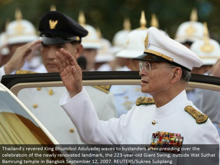 Thailand's adored King Bhumibol Adulyadej waves to observers in the wake of directing the festival of the recently redesigned point of interest, the 223-year-old Giant Swing, outside Wat Suthat Bamrung sanctuary in Bangkok September 12, 2007. REUTERS/Sukree Sukplang