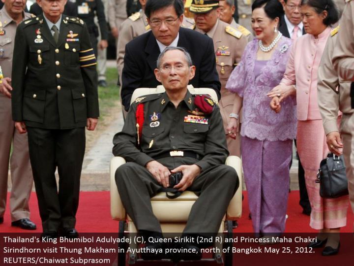 Thailand's King Bhumibol Adulyadej (C), Queen Sirikit (second R) and Princess Maha Chakri Sirindhorn visit Thung Makham in Ayutthaya area, north of Bangkok May 25, 2012. REUTERS/Chaiwat Subprasom