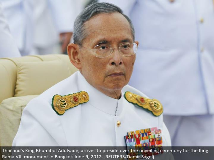 Thailand's King Bhumibol Adulyadej touches base to direct the uncovering function for the King Rama VIII landmark in Bangkok June 9, 2012. REUTERS/Damir Sagolj