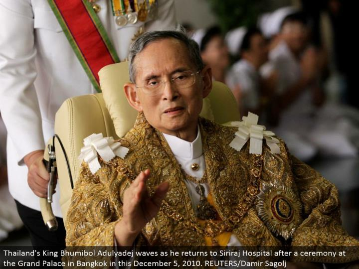 Thailand's King Bhumibol Adulyadej waves as he comes back to Siriraj Hospital after a service at the Grand Palace in Bangkok in this December 5, 2010. REUTERS/Damir Sagolj