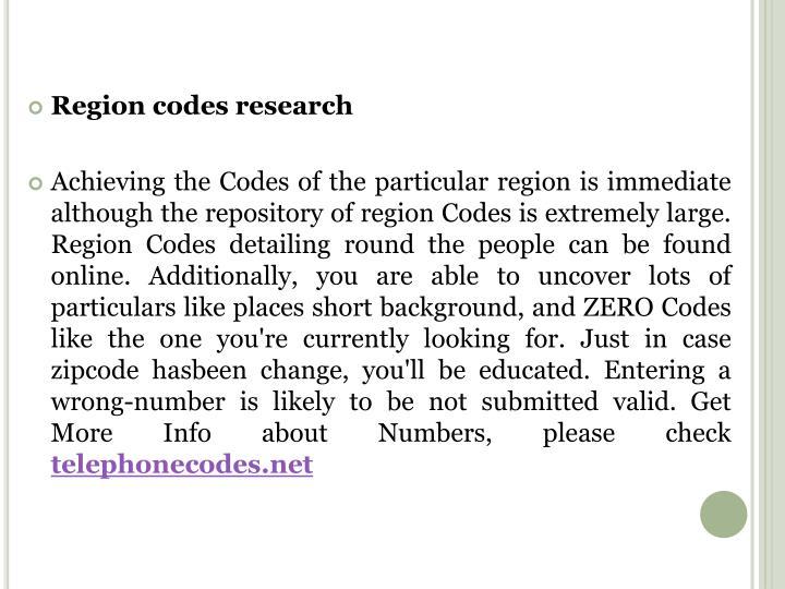 Region codes research