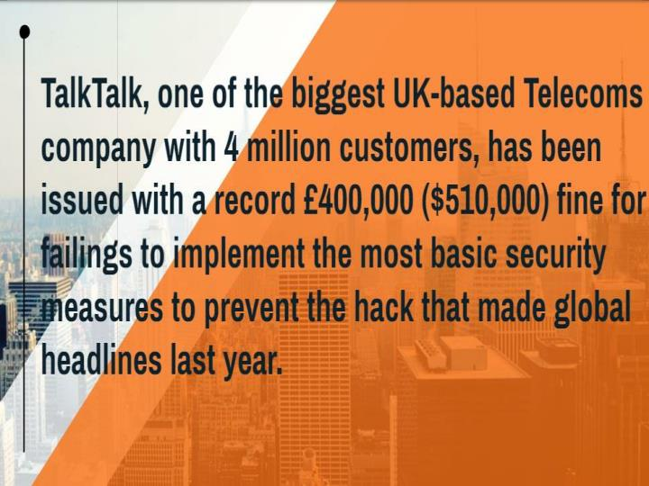 Talk talk telecom ordered to pay record 400 000 fine over 2015 data breach cr risk advisory
