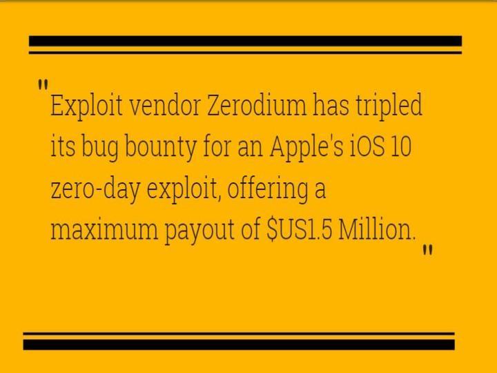 Zerodium offers 1 5 million bounty for ios zero day exploits cr risk advisory