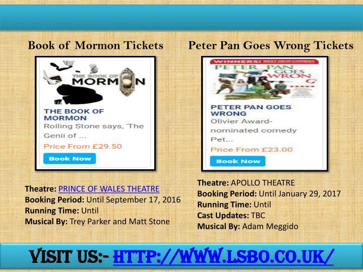 Book of Mormon Tickets