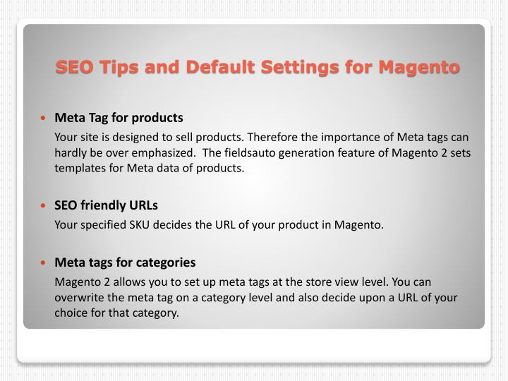 Seo tips and default s ettings for m agento