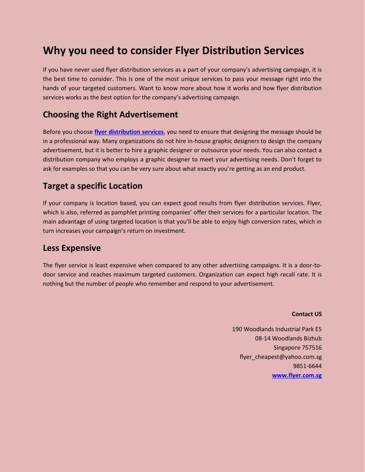 Why you need to consider Flyer Distribution Services