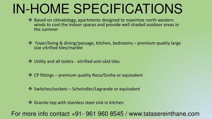 IN-HOME SPECIFICATIONS