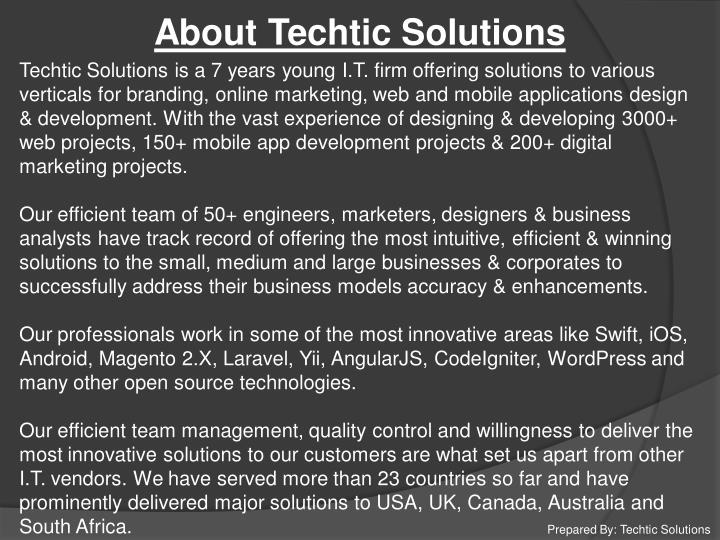 About Techtic Solutions