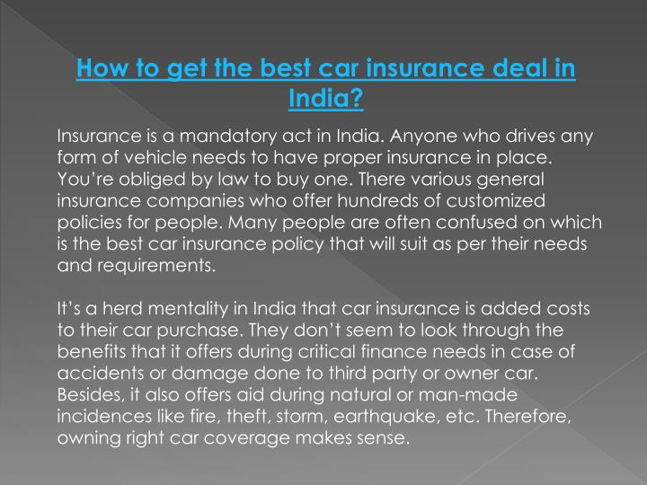 How to get the best car insurance deal in India?