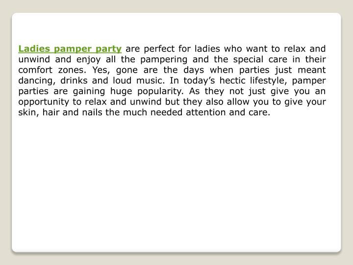 Ladies pamper party
