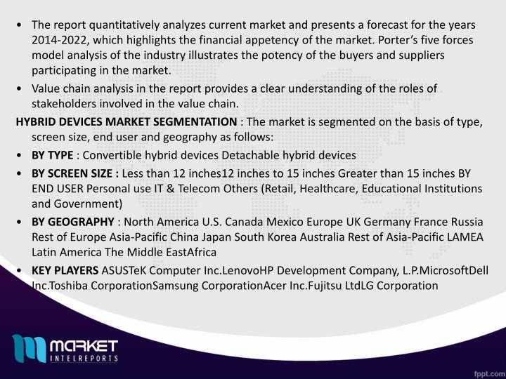 The report quantitatively analyzes current market and presents a forecast for the years 2014‐2022, which highlights the financial appetency of the market. Porter's five forces model analysis of the industry illustrates the potency of the buyers and suppliers participating in the market.