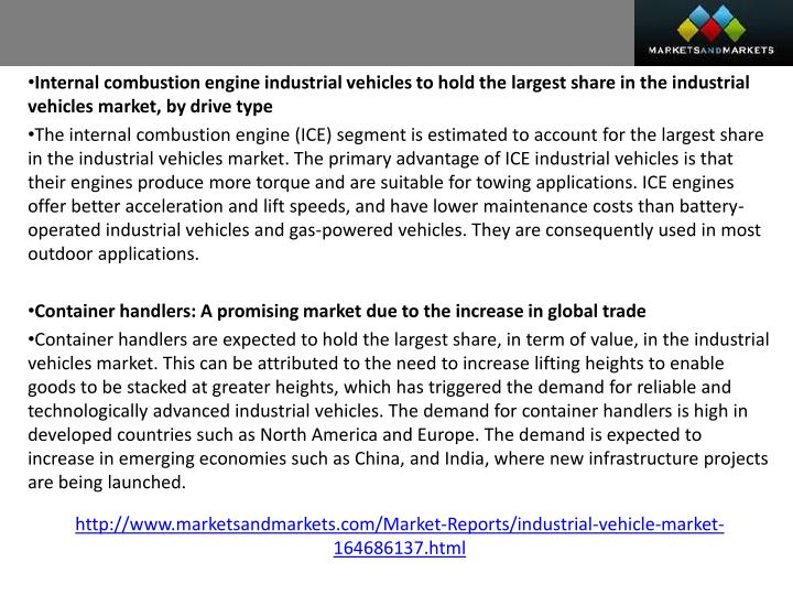 Internal combustion engine industrial vehicles to hold the largest share in the industrial vehicles ...
