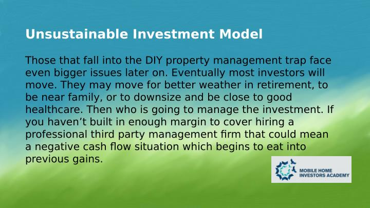 Unsustainable Investment Model