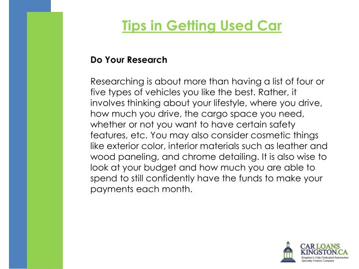 Tips in Getting Used Car