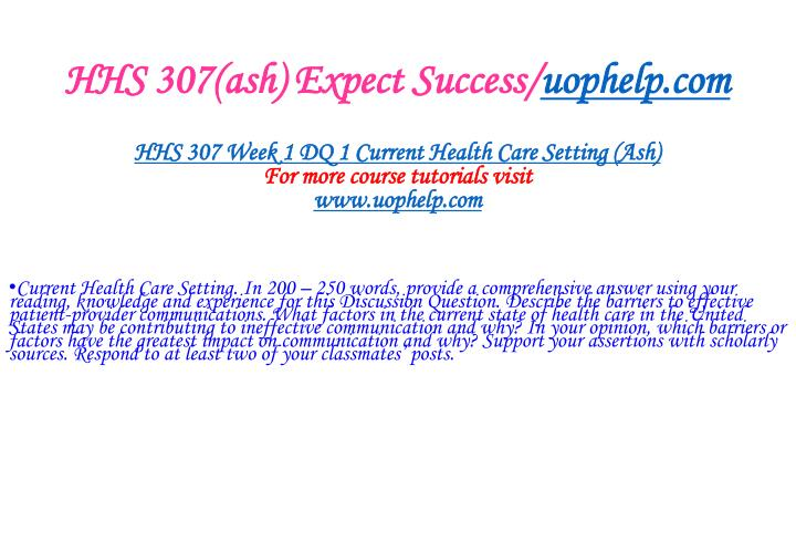 Hhs 307 ash expect success uophelp com2