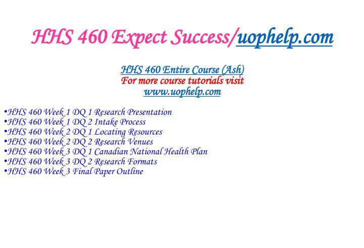 Hhs 460 expect success uophelp com1