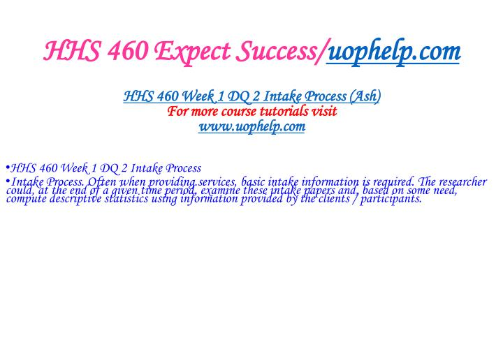 HHS 460 Expect Success/