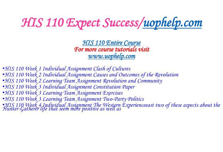 His 110 expect success uophelp com1