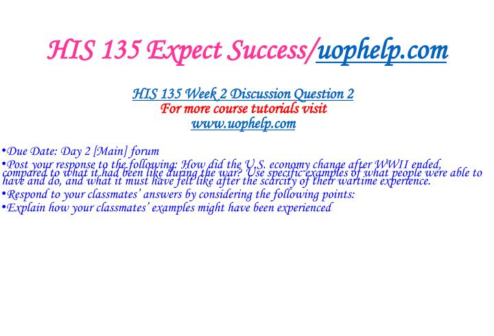 HIS 135 Expect Success/