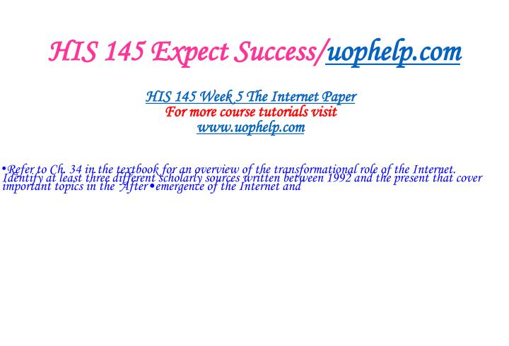 HIS 145 Expect Success/