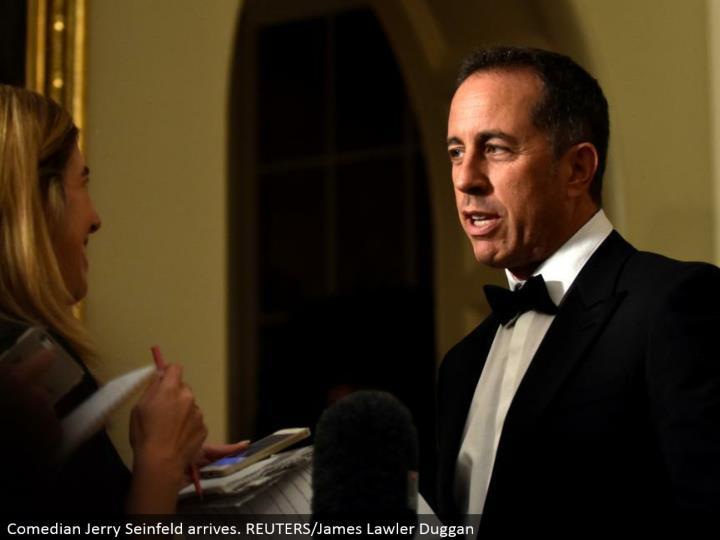 Comedian Jerry Seinfeld arrives. REUTERS/James Lawler Duggan