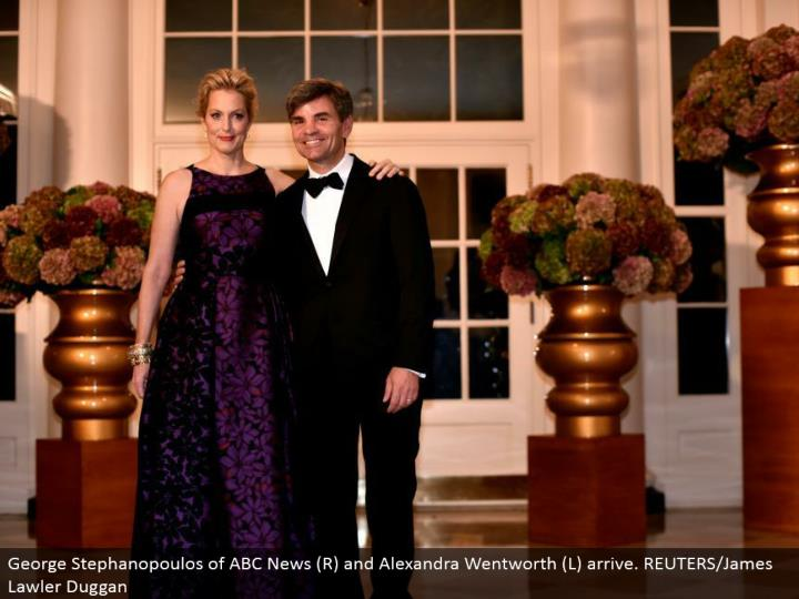 George Stephanopoulos of ABC News (R) and Alexandra Wentworth (L) arrive. REUTERS/James Lawler Duggan