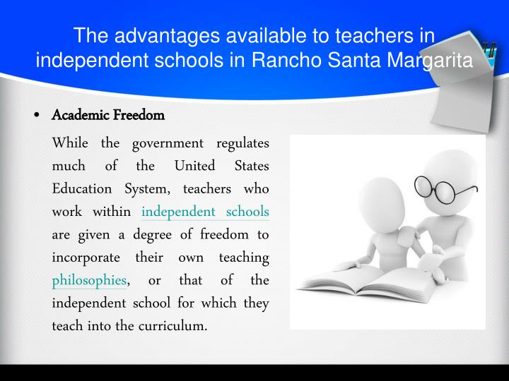 The advantages available to teachers in independent schools in rancho santa margarita
