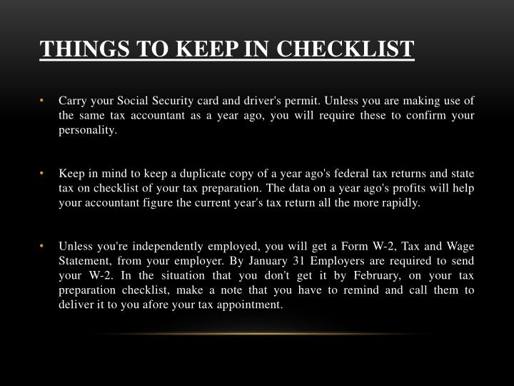 Things to keep in checklist