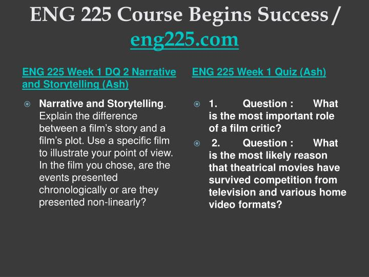 eng 225 week 5 final film Eng 225 teaching effectively--snaptutorialcom eng 225 week 5 final paper film critique for more classes visit wwwsnaptutorialcom focus of the final film critique throughout this course, you have been compiling a blog and writing essays that analyze various elements of film such as theme, cinematic techniques, and genre.