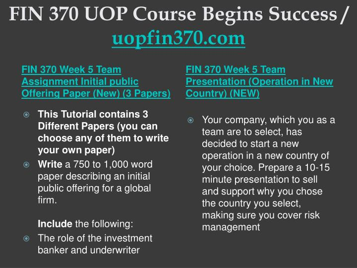 FIN 370 UOP Course