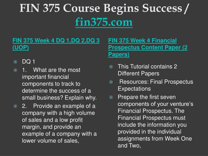 fin 375 week 3 financial prospectus