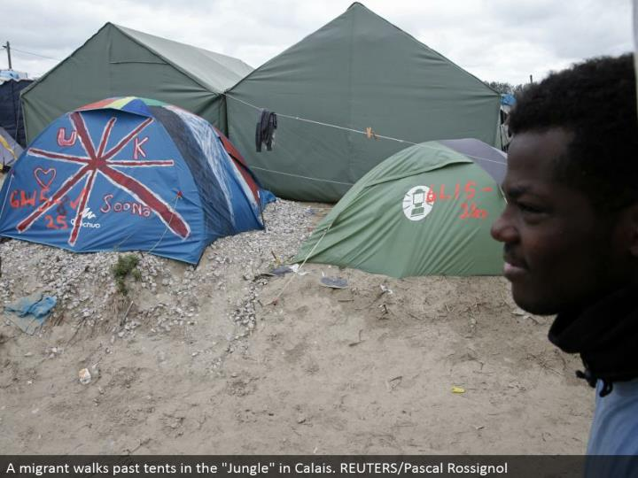 "A transient strolls past tents in the ""Wilderness"" in Calais. REUTERS/Pascal Rossignol"