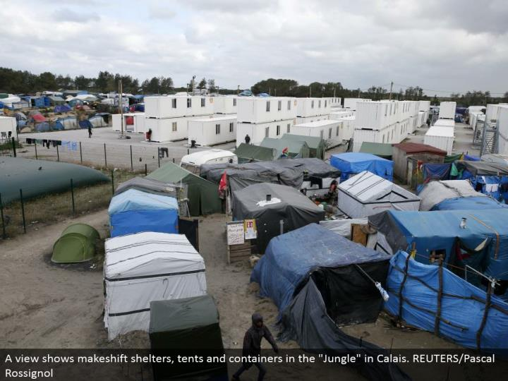 "A see indicates temporary sanctuaries, tents and compartments in the ""Wilderness"" in Calais. REUTERS/Pascal Rossignol"